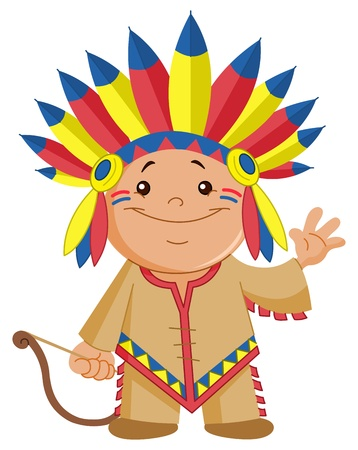 red indian: Indian kid waving hello Illustration