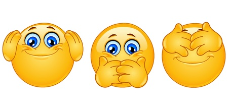 evil eye: Emoticon posing like �three monkeys� Illustration