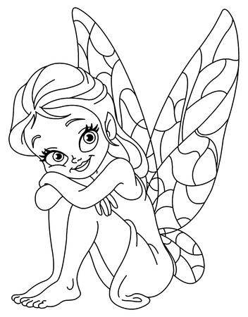 livre � colorier: Illustration d�crites d'une adorable f�e