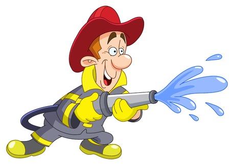 Fireman holding a fire hose Stock Vector - 9776466