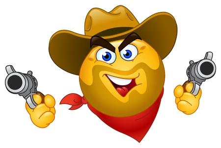 smiley face cartoon: Cowboy emoticon Illustration