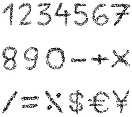 yen sign: Scribble numbers Illustration