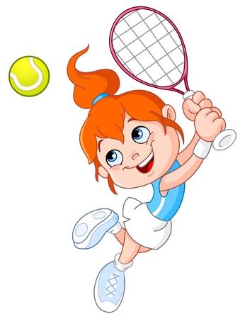 jugando tenis: Ni�a jugando tenis