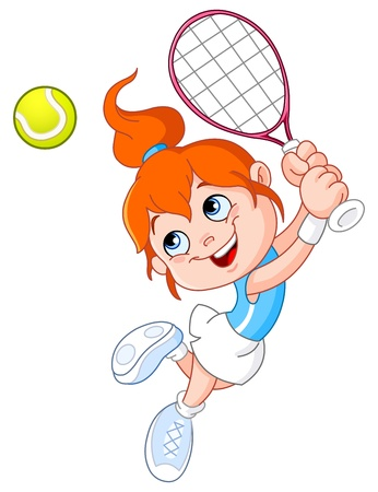 Young girl playing tennis Vector