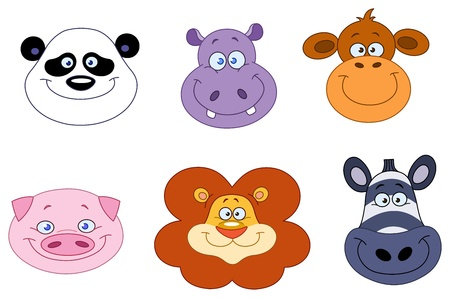 Cartoon animal head collection Vector