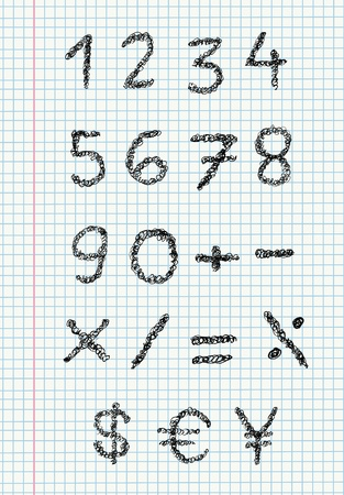math set: Scribble numbers on a squared paper