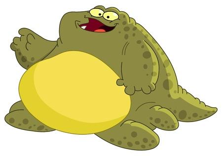 Fat monster waving hello Vector