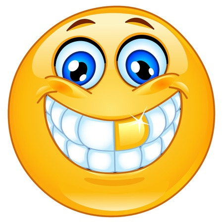 cara sonriente: Icono gestual diente de oro