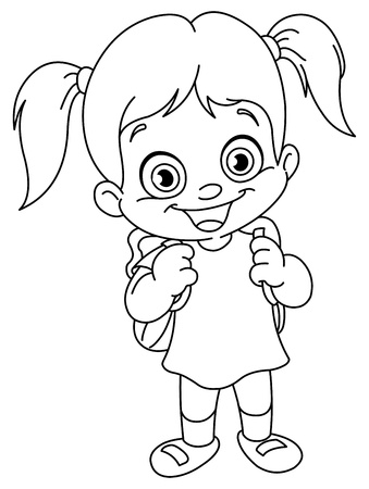 coloring pages: Outlined schoolgirl Illustration