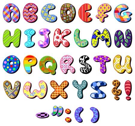 abecedario: Alfabeto con dibujos colorido conjunto