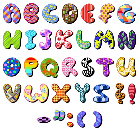 Colorful patterned alphabet set Vector