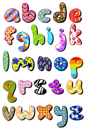 alphabet: Colorful patterned lower case alphabet set