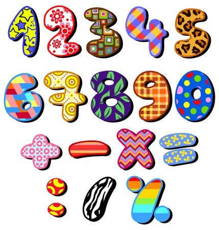 Colorful patterned numbers set Vector