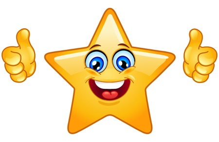 thumb up icon: Smiling star showing thumbs up