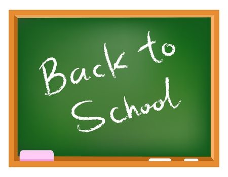 Back to school text on a chalkboard  Stock Vector - 10001365