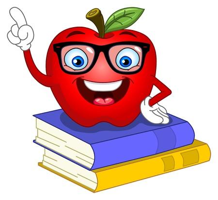 manzana caricatura: Apple Smart apuntando con su dedo
