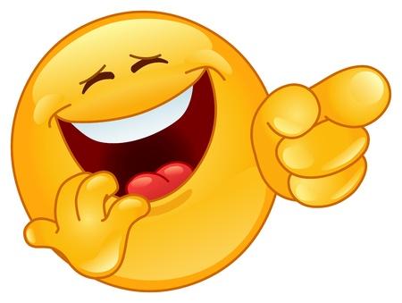 Lachen en wijzen emoticon