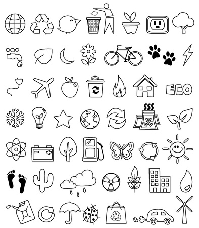 water conservation: Eco doodle icon set