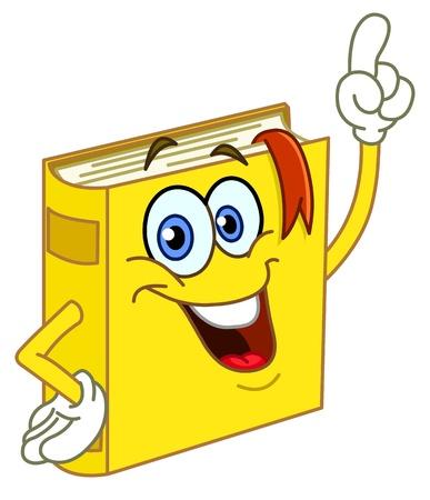 teacher student: Dibujos animados de libro apuntando con su dedo