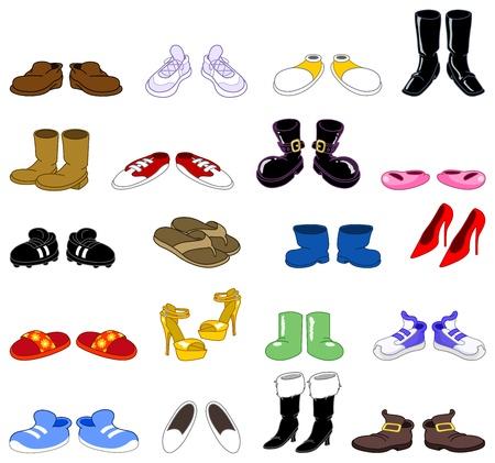 zapato: Conjunto de zapatos de dibujos animados Vectores