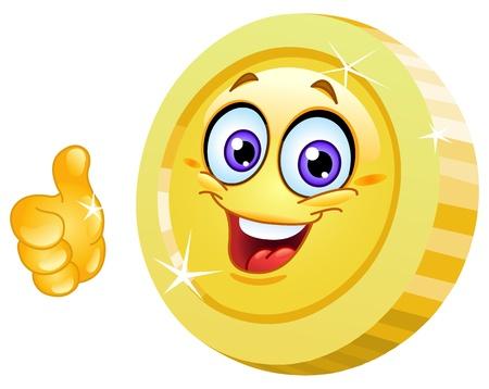 carita feliz caricatura: Sonriendo pulgar de moneda mostrando hasta