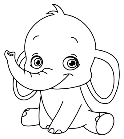 elephants: Outlined baby elephant Illustration