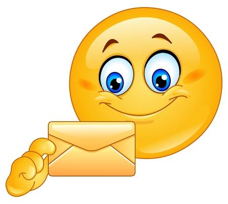 smiley: Emoticon met envelop