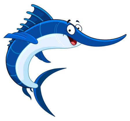 salt water fish: Cartoon swordfish Illustration