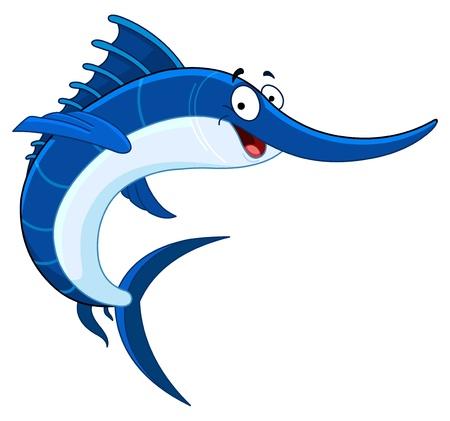sailfish: Pesce spada di cartone animato Vettoriali