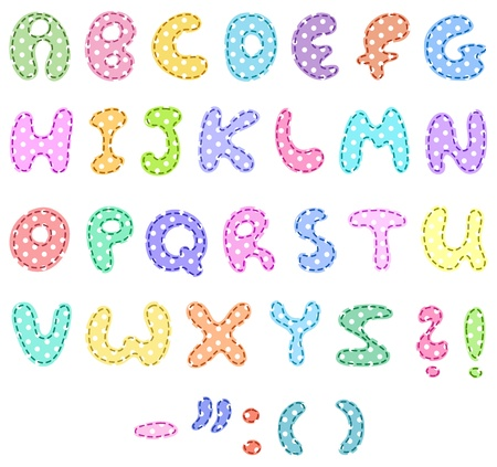 Polka dot alphabet with stitches Vector