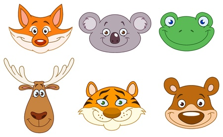 christmas frog: Cartoon animal head collection Illustration