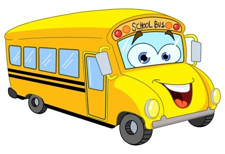 escuela caricatura: Autobús escolar de dibujos animados
