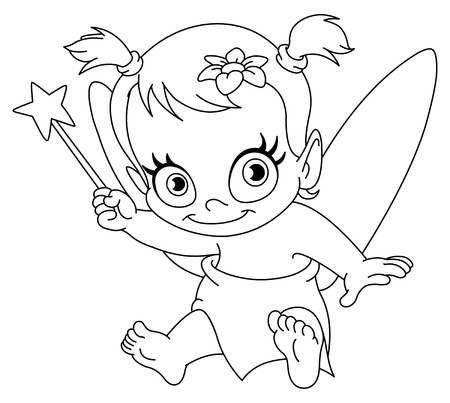 fairy wand: Outlined baby fairy Illustration