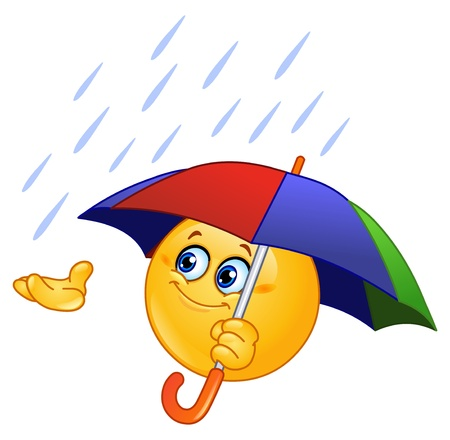rain cartoon: Emoticon holding an umbrella