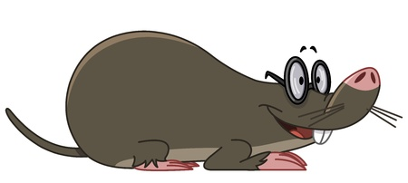 eyeglass: Smiling mole wearing eyeglasses