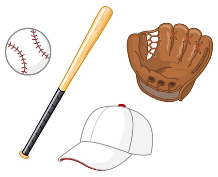 baseball cartoon: Baseball elements Illustration