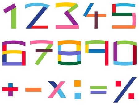 Colorful number and math symbol set Vector