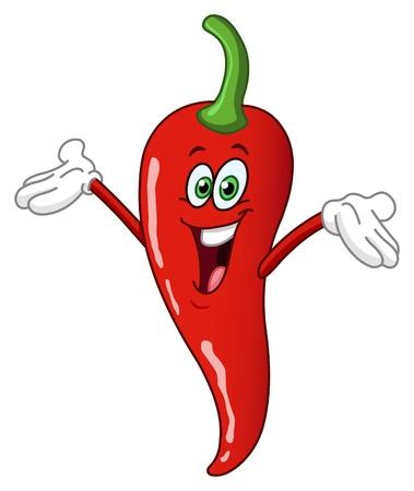 Caricature de piment rouge du chaud