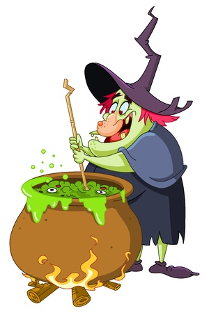 cartoon witch: Witch preparing a potion