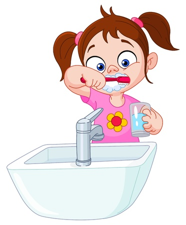 dentist cartoon: Young girl brushing her teeth