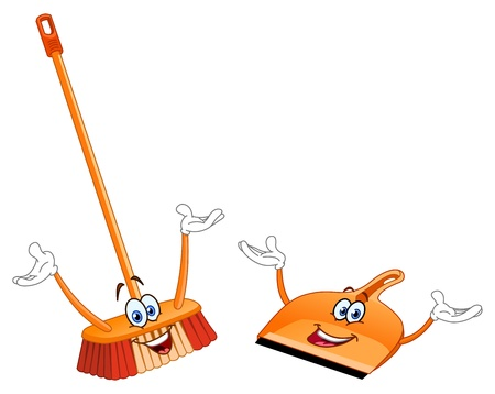 cleanup: Broom and dustpan cartoon