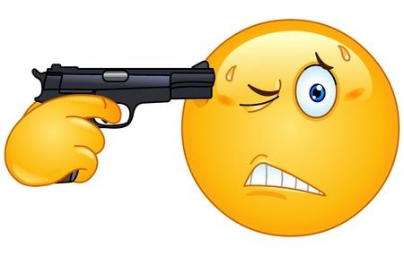 cara triste: Emoticon apuntando con una pistola en la cabeza