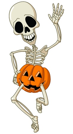 halloween cartoon: Happy dancing skeleton wearing a pumpkin