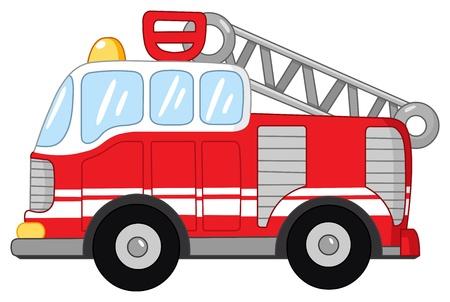 bombero de rojo: Camión de bomberos Vectores