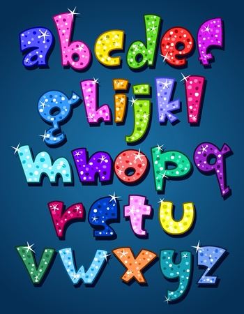 typeset: Lower case sparkling alphabet