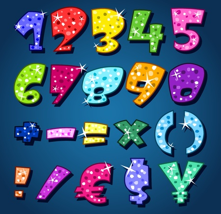 Sparkling numbers and signs Vector