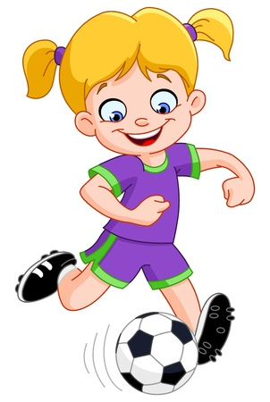 football kick: Young girl playing soccer Illustration