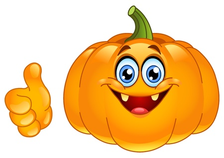 ghost character: Smiling pumpkin showing thumb up