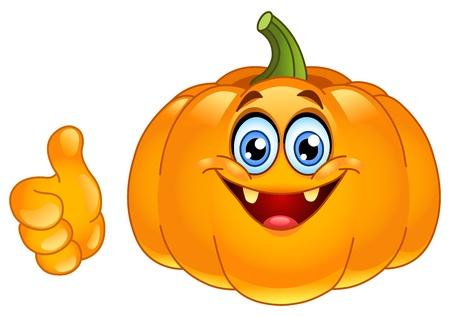 calabaza caricatura: Sonriente calabaza mostrando pulgar arriba