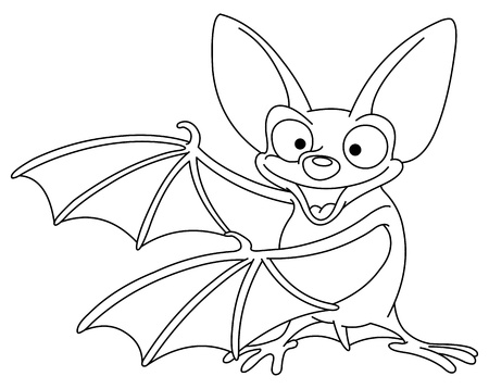 cute halloween: Outlined bat